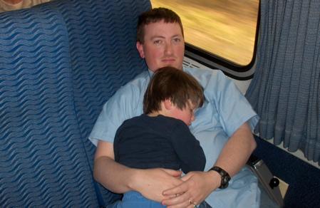 Jason and Bernie on a train