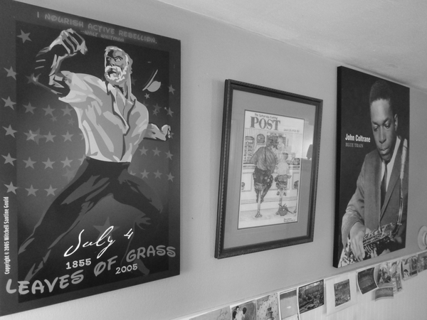 Walt Whitman poster by Mitchell Santine Gould; cross-stitch of a Norman Rockwell painting by my grandpa, Bernie Flanders; John Coltrane poster, given to me by my former wife
