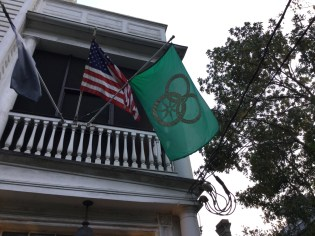 Flags outside of Robert Jordan's house