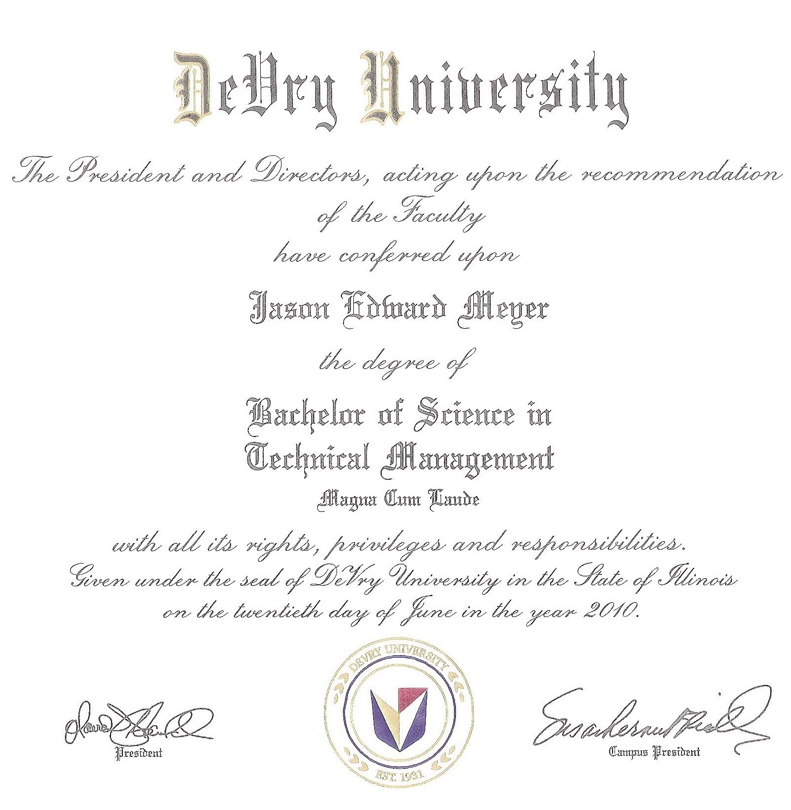 Jason Meyer's Bachelors Degree
