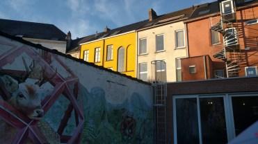 Hostel Mural with Buildings