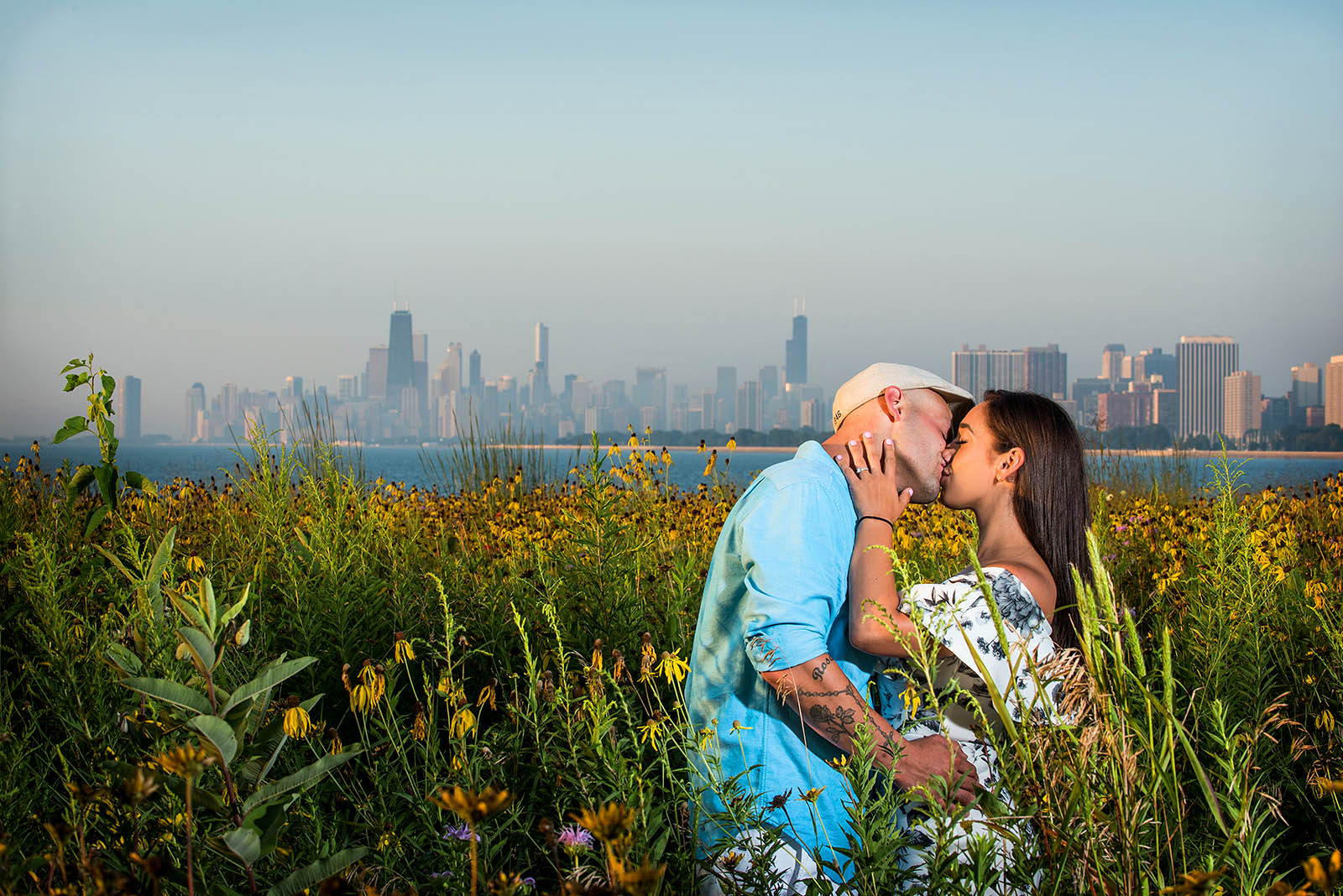 Skyline Sunrise Engagement Photo Chicago