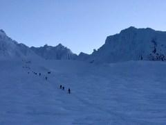 Climbers on Triangle Moraine