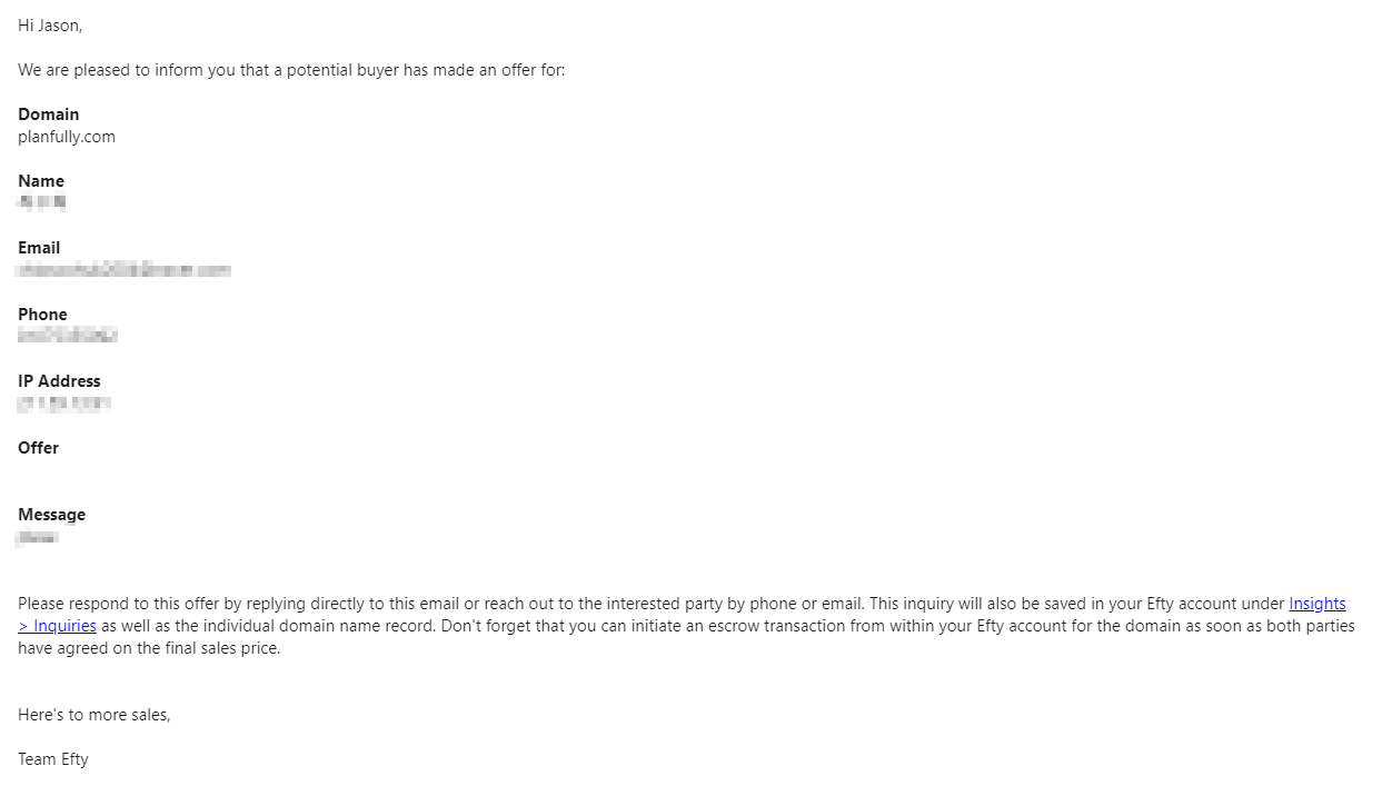 Efty.com offer email