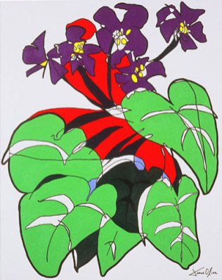 Jason Oliva Painring 2003 African Violets