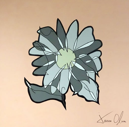 Paintings Jason Oliva Grey Flower