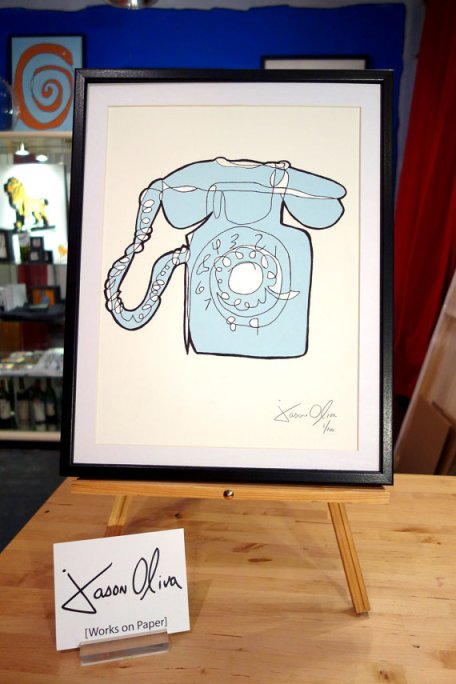Phone. Framed, small work on paper as Jason Oliva's studio. NYC. 2013.