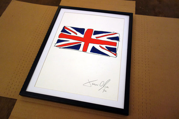 Jason Oliva British Flag Work on paper painting