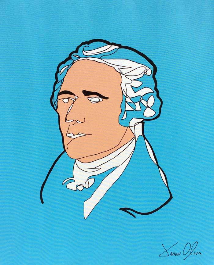 Alexander Hamilton 2016 portrait painting by Artist Jason Oliva