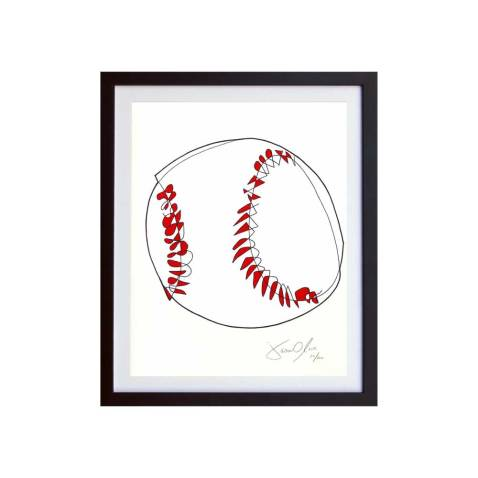 SMall Color Baseball work on paper by Jason Oliva