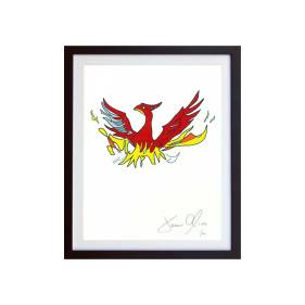 Phoenix small color framed work on paper by Jason Oliva