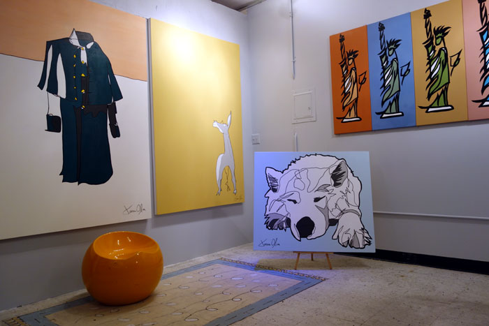 Great Coat, Artemis, Lumi Dog Portrait and Art History Paintings on display in Jason Oliva's Studio