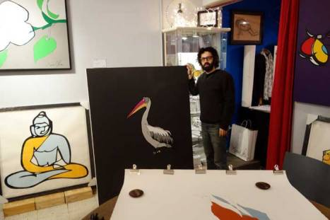 Jason Oliva with Pelican 2014 painting in his Tribeca, NYC Studio