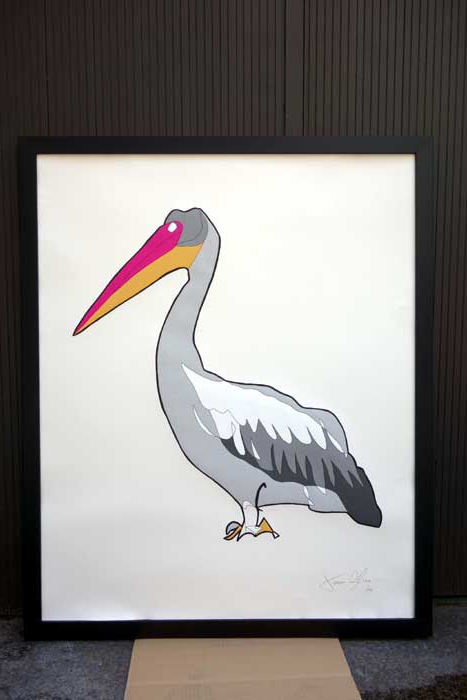 Pelican Large work on paper by jason oliva on display