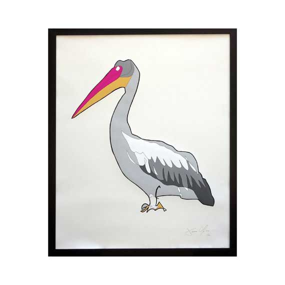 Pelican large work on paper by Jason Oliva edition of 50