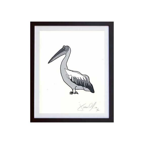 Pelican grey small work on paper by Jason Oliva