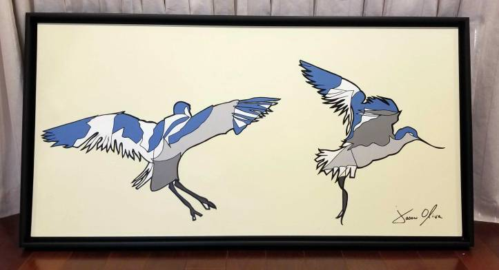 "Avocet 2019 Sold Painting by Jason Oliva 72"" x 36"" Acrylic on Canvas"