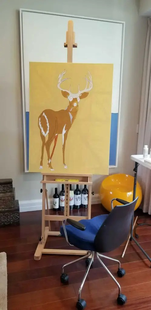 Deer 2020 Jason Oliva painting on the Easel