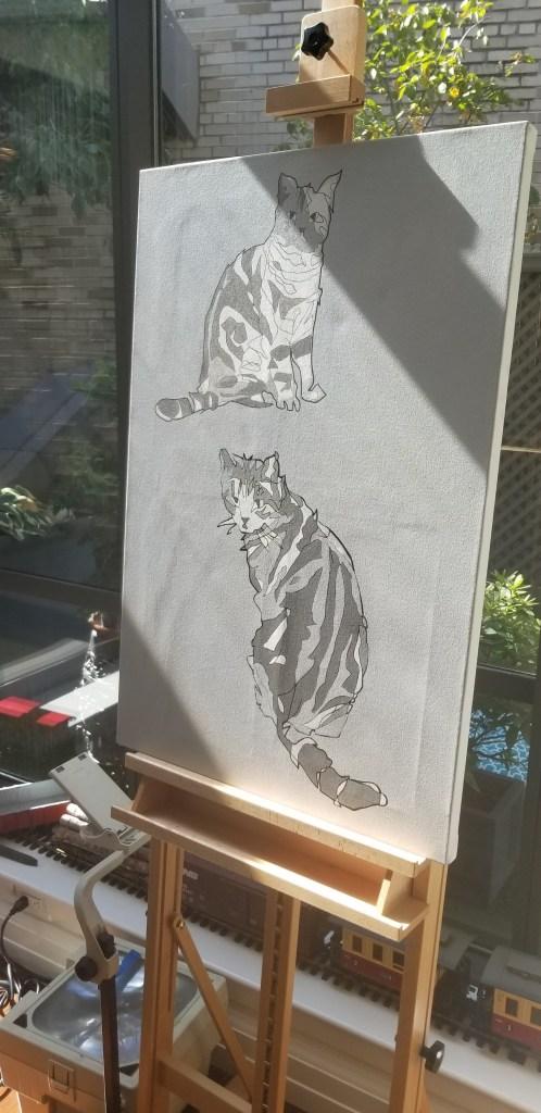 Jason Oliva Cat Portrait painting 2019 on easel
