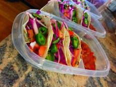 Haddock Fish Tacos w/Red Cabbage/Onion Slaw & Newman Salsa