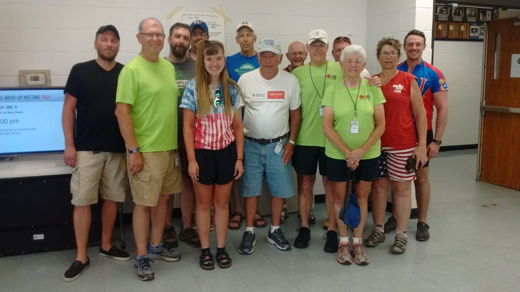 The riders from Hutchinson indulged my request to gather for a photo. From left: Kiler Gibson-Smith, Zan Border, Jason Probst, Dave Inskeep, Brittany Inskeep, Ron Sorensen, Gary Withrow, Harley Phillips, Mike Patterson, Zach Phillips, Carolyn Patterson, Shelly Glassman, Colin Glassman.