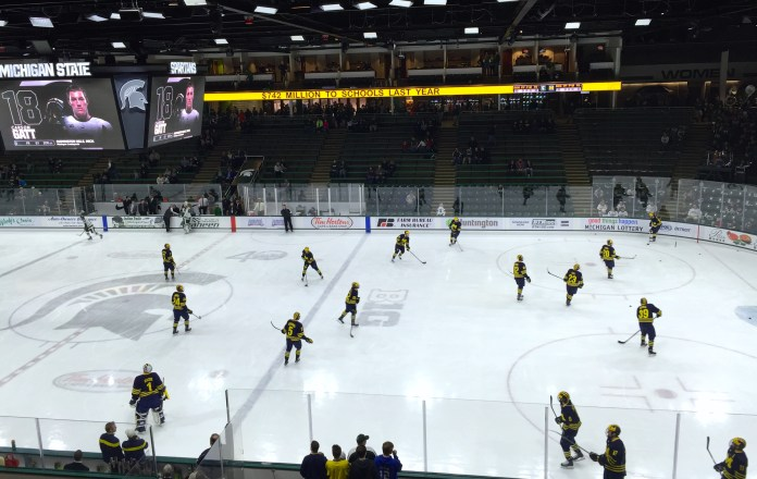Michigan takes the ice at Munn Ice Arena in East Lansing, Michigan. The Wolverines entered Friday's game knowing they had to win both games of the weekend in order to win the Big Ten Championship. Friday was part one.