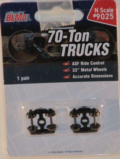 "BLMA Models N Scale 70 Ton Trucks W/ 33"" Metal Wheels 9025"