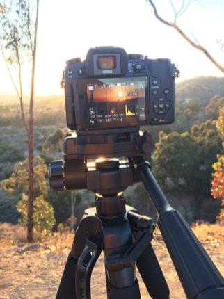Tripodwith my Panasonic DMC-G7KK pointing towards Downtown LA