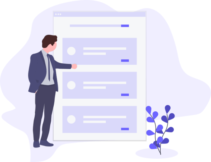 Illustrations of man standing next to user interface