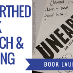 unearthed book launch2f signing blog header - I AM WRITING A BOOK!
