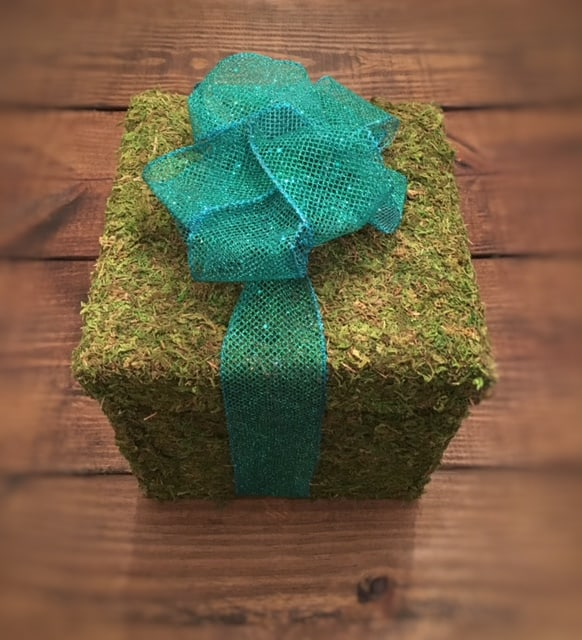Moss Wrapped Gift DIY