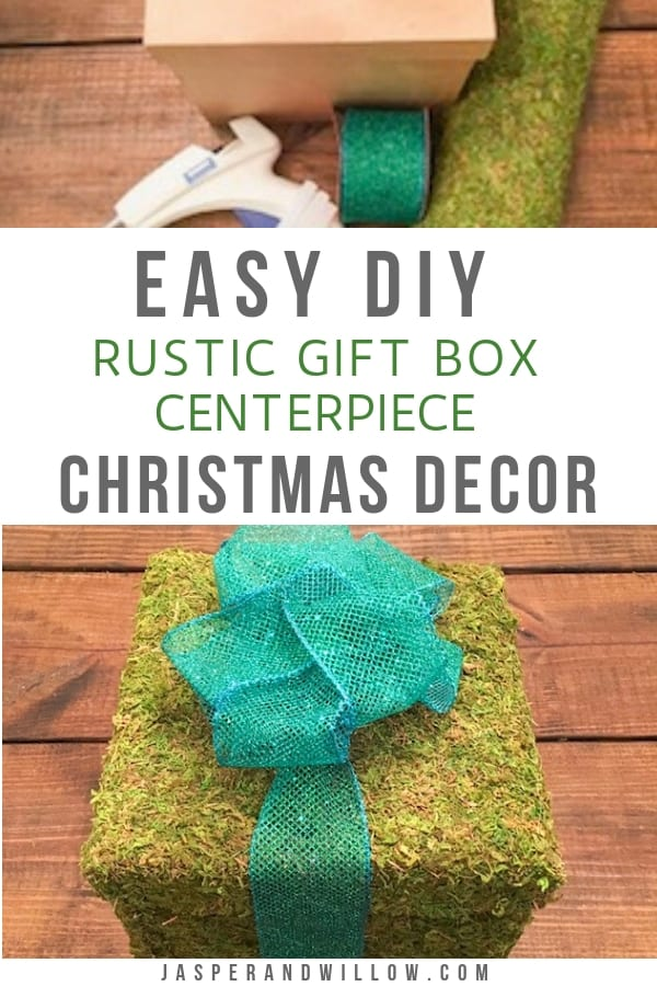 DIY rustic Christmas decor moss wrapped gift box centerpiece tutorial