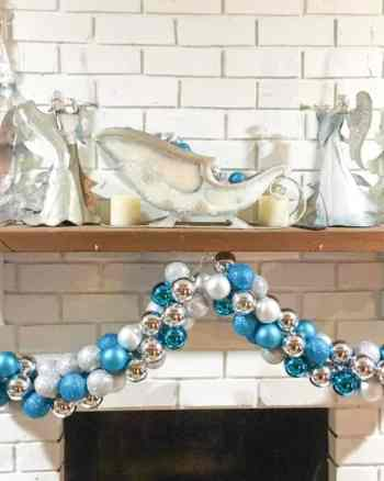 ornament garland on display on mantel