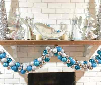ornament garland on display on mantel