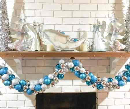 ornament garland on display on mantle