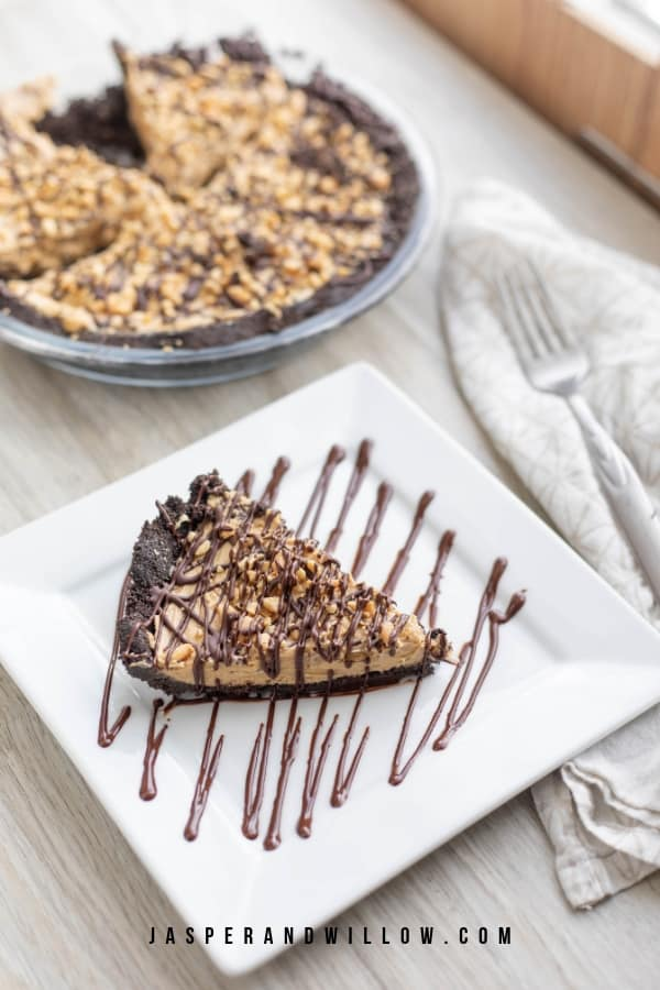 no bake peanut butter pie on plate and in pie tin