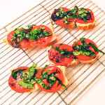 caprese crostini appetizer recipe on rack