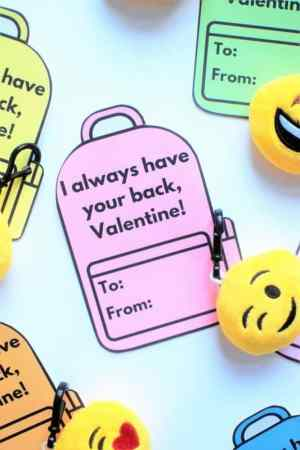 free printable I always have your back valentine with emoji keychains