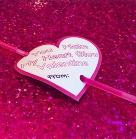 Valentine template printable with glow stick