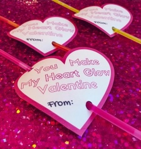 free printable valentines with glow sticks you make my heart glow