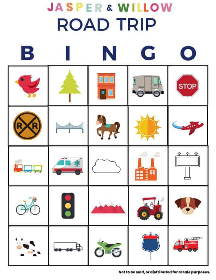 photograph relating to Road Trip Bingo Printable titled Highway Holiday Bingo For Young children