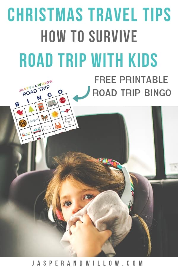 road trip with kids - child in car seat in car
