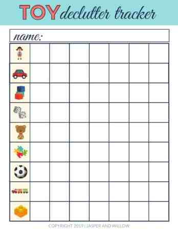 decluttering toys printable pdf tracker