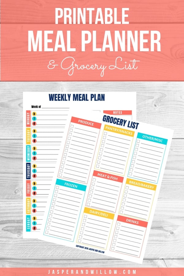 Free Meal Planning Template With Grocery List