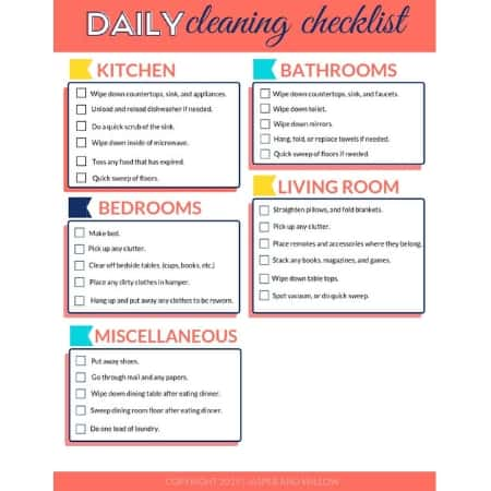 Daily Cleaning Checklist Free Printable Pdf