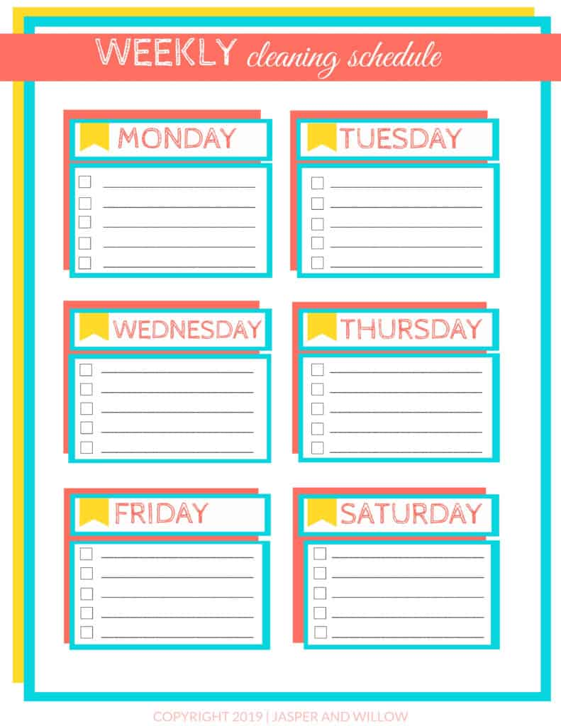 picture about Printable Cleaning Schedule Template titled Uncomplicated Weekly Cleansing Program For Occupied Mothers - Printable