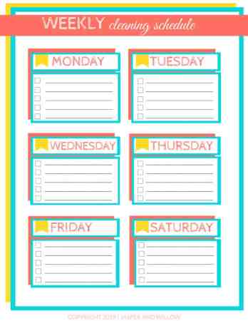 Easy Weekly Cleaning Schedule For Busy Moms Printable