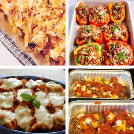 easy make ahead meals for busy nights with enchiladas, pasta, and stuffed peppers