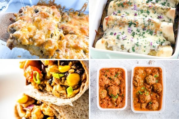 make ahead freezer meal recipes with casserole, enchiladas, burritos, and meatballs
