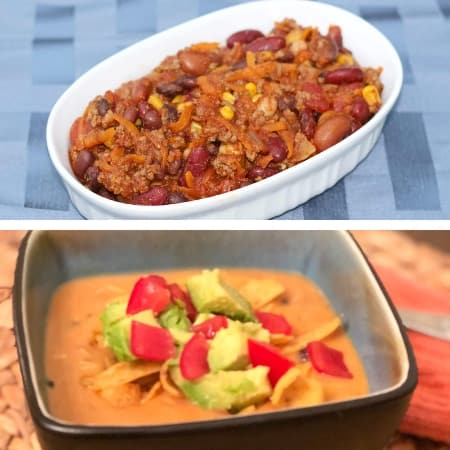 make ahead freezer meal soups with chili and chicken enchilada soup